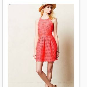 Anthropologie embroidered coral dress